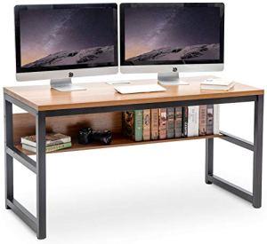 TOPSKY 55' Computer Desk with Bookshelf/Metal Desk Grommet Hole Cable Cover (Oak_Brown)