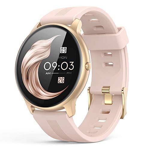 Smartwatch, AGPTEK 1,3 Zoll Armbanduhr mit personalisiertem Bildschirm, Musiksteuerung, Herzfrequenz, Schrittzähler, Kalorien, usw. IP68 Wasserdicht Fitness Tracker Uhr, für iOS und Android, Rosa