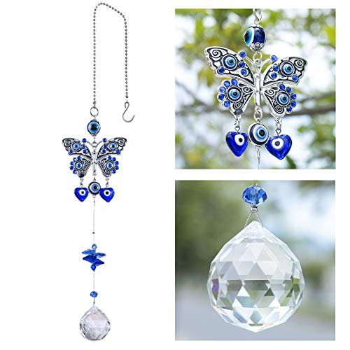 YU FENG Turkish Blue Evil Eye Butterfly Wall Hanging with...