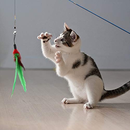 Depets Feather Teaser Cat Toy, Retractable Cat Wand Toy & 5PCS Assorted Teaser Refills with Bell, Interactive Catcher Teaser Toy Cat Feather Toy Funny Exercise for Indoor Cat and Kitten