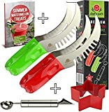 BEST WATERMELON SLICER As Seen On Tv, Melon Tongs Corer Server & Cake Cutter, Thickest Cutting Wire, Comfort Grip Handle, FREE Fun Star Shape Cutter & Bonus Ebook (Green and Red (2-Pack)) (Kitchen)