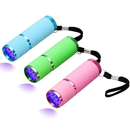 Coolrunner 3pcs LED Flashlight, Small Glow Flashlights with 9 LED Lights, Portable Light Nail Dryer for Nail Gel