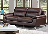 Cortesi Home Chicago Leather Sofa, 79', Brown