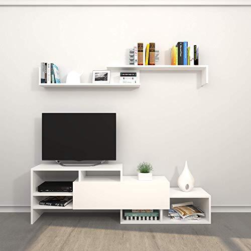 Homemania Mobile Porta TV Fenice, Legno, Bianco, 150x27x45 cm - 150X14x16 cm