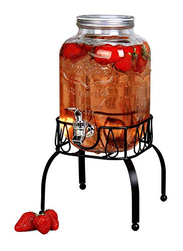Estilo On Metal Stand with Leak free Spigot 1 Gallon Single Beverage Drink Dispenser, Clear