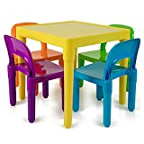 Kids Activity Table and Chairs Set - Toddler Activity Chair Best for Toddlers Reading, Train, Art, Crafts, Play-Room (4 Childrens Seats with 1 Table Sets) Little Kid Children Furniture Accessories