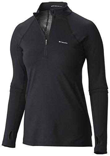 Columbia Midweight Camiseta térmica con Media Cremallera, Negro, L