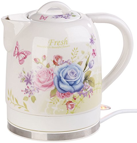 Rosenstein & Söhne Wasserkocher Blumen: Keramik-Wasserkocher mit Blumenmuster, 1,7 Liter, 1.500 Watt (Wasserkocher Retro)