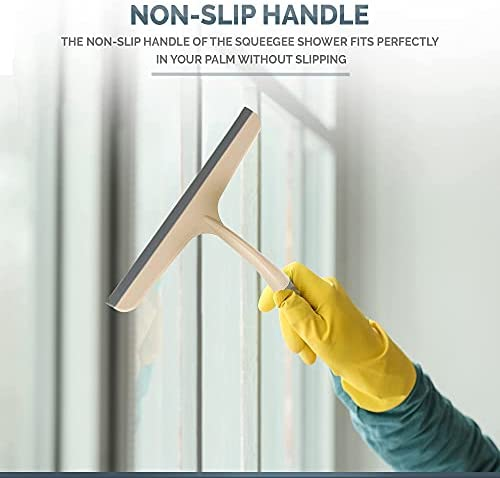 Shower Squeegee for Shower Glass Doors, Bathroom - Multifunctional Window Squeegee, 10 inch, Ergonomic and Lightweight Handle, Great Tool for Window Cleaning, Glass Door, Mirrors and car