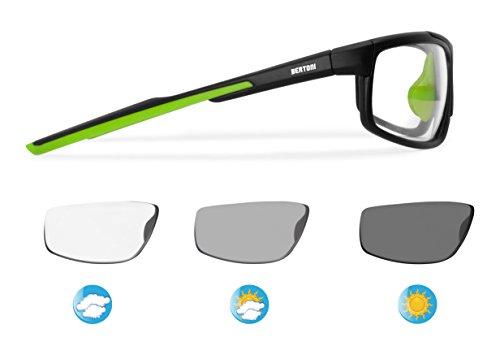 BERTONI Photochrome Selbsttönende Windschutz Sport Sonnenbrillen Radfahren Ski Laufen Golf Running - F180M Automatische Scheibentönung Fahrradbrillen Kat 0 bis 3