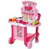 HOMCOM Juguete de Cocina Infantil Diseño 3 en 1 Cocina de Juego de Imitación Divertido para +3 Años con 42 Piezas Incluidas Carrito y Maletín 59,7x47x42,5 cm Rosa