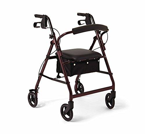 Medline Aluminum Rollator Walker with Seat, Folding Mobility Rolling Walker has 6 inch Wheels, Burgundy