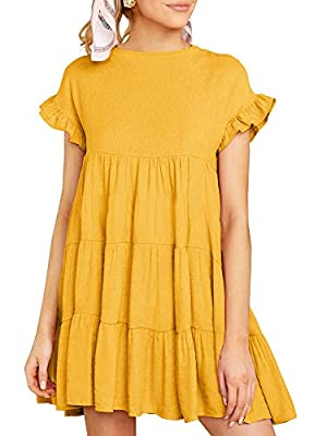 Material: High Quality Fabric. Soft And Comfortable To Wear. Feature: Floral Printed, Polka Dots, High Ruffle Neckline, Short Sleeve, Crew Neck, Ruffle Hem, Loose Short Mini Tunic Dress For Womens. Fashion Collocation: These Dresses Are Must-Have Sum...
