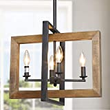 LOG BARN Dining Room Lighting Fixtures Hanging, Farmhouse Chandelier in Distressed Wood and Metal Finish, Black Pendant for Kitchen Island