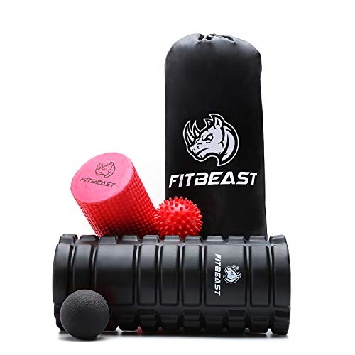 Foam Roller 2 in 1 Foam Rollers 4 Piece Set for Deep Tissue Muscle Massage, FitBeast Trigger Point Foam Roller Massage for Painful Tight Muscles, Smooth Roller for Rehabilitation and two Massage Balls