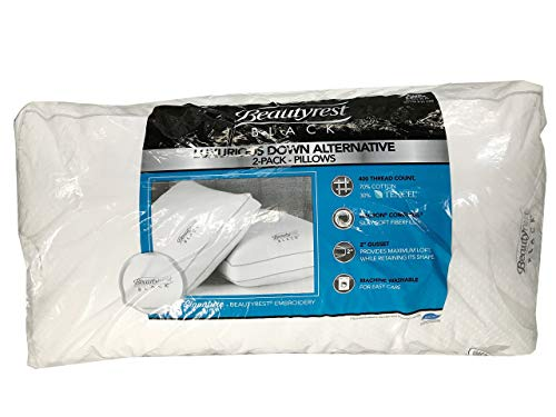 BeautyRest Black Luxurious Down Alternative Pillows 400 Thread King - 2 Pack