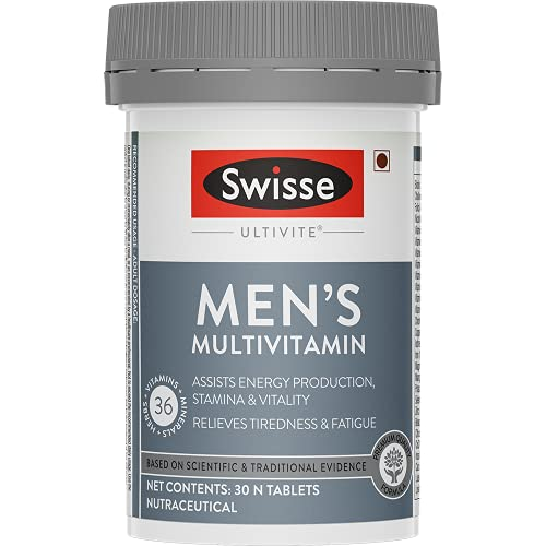 Swisse Ultivite Men's Multivitamin Supplement (with 36 Herbs, Vitamins & Minerals) for Immunity, Relieving Fatigue & Tiredness and Assisting Energy, Stamina & Vitality Production - 30 Tablets