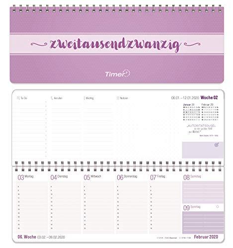 Wochen-Tischkalender 2020 im Quer-Format   1 Woche 2 Seiten   Wochenkalender in lavendel/weiß, 29,7 x 10,5 cm   Schreibtisch-Kalender fürs Büro und Zuhause mit vielen Zusatzinfos und Sprüchen