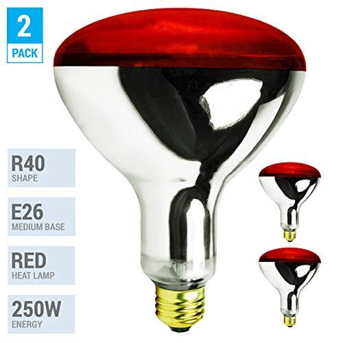 250R40/1 250-Watt, Incandescent R40 Reflector, Clear Head Lamp, Heat Flood Lamp Light Bulb, E26 Standard Medium Screw Base, 120V, 6,000 Hour Rated (Pack of 2-RED-Heat Lamps)