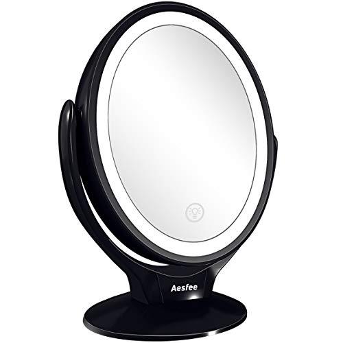 Aesfee Miroir Grossissant Double Face 1x / 7X, Miroir Maquillage avec 21...
