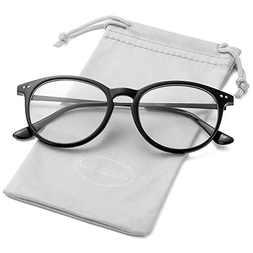 Non Prescription Clear Lens Fake Glasses for Women Men Retro Round Metal Frame Eyeglasses