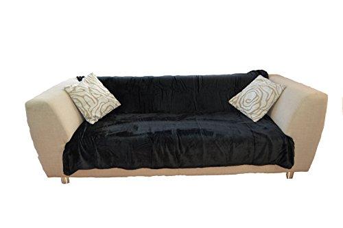 NG distribuzione Deluxe double king copriletto letto/divano in ecopelliccia, Poliestere, Nero ,...