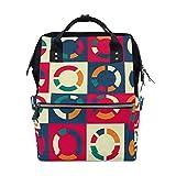 Bolsa de pañales para bebé de gran capacidad, patrón de círculo retro, mochila de viaje multifunción duradera para mamá, niñas, enfermeras