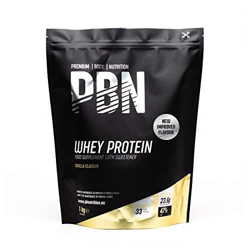 PBN Premium Body Nutrition - Proteína de suero de leche en polvo, 1 kg (Paquete de 1), sabor Vainilla, sabor optimizado