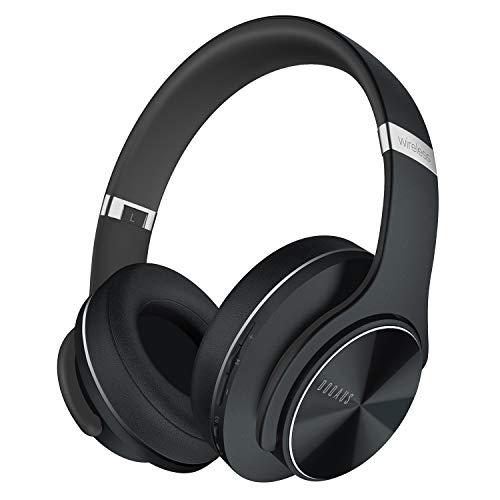 DOQAUS Auriculares Inalámbricos Diadema, [52 Hrs de Reproducción] Hi-Fi Sonido, Cascos Bluetooth con 3 Modos EQ, Micrófono Incorporado y Doble Controlador de 40 mm, para Móviles/Xiaomi/TV (Negro)