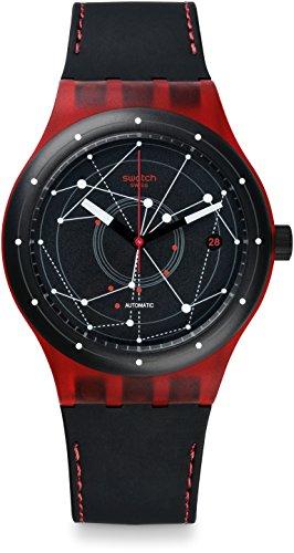 Swatch Herren Digital Automatik Uhr mit Leder Armband SUTR400