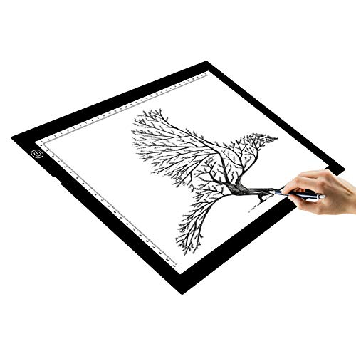 Huion 26.8' Super Sottile Tavoletta Luminosa LED Tavolette Disegno Light Pad Tracing Box Copy Board con il Supporto Multifunzione, Bordo Disegnare Clip, 6PCS di Carta da Lucido (A2 Holder)