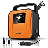 Jethax Latest Air Compressor Tire Inflator, 12V Air Compressor Portable for Car Tires, Tire Pump with LED Light and Pressure Gauge, and Compatible with Car, Bicycle, Motorcycle, Ball, Inflatable Pool