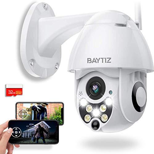 BAYTIZ | Telecamera Wifi Esterno + Micro Sd 32 Gb - Videocamera Sorveglianza Interno Wi-fi 360 Telecamere Senza Fili Allarme Casa Kit Videosorveglianza Mini Camera Visione Notturno Registrazione Ip Pc