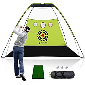 🏌️【LARGE SIZE】- The dimensions of the net is up to 10ft (L) X 7ft(D) X 7ft(H),large , light but stable. Increasing 30% area of chipping training curtain gives more protection of driving practice. 🏌️【Multi Functional】Support driving and chipping pract...