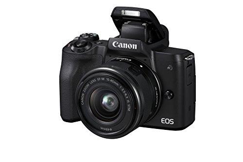 Canon EOS M50 spiegellose Systemkamera (24,1 MP, dreh-und schwenkbares 7,5cm (3 Zoll) Touchscreen-LCD, Digic 8, 4K Video, OLED EVF,WLAN, bluetooth) + EF-M 15-45mm IS STM Objektiv schwarz