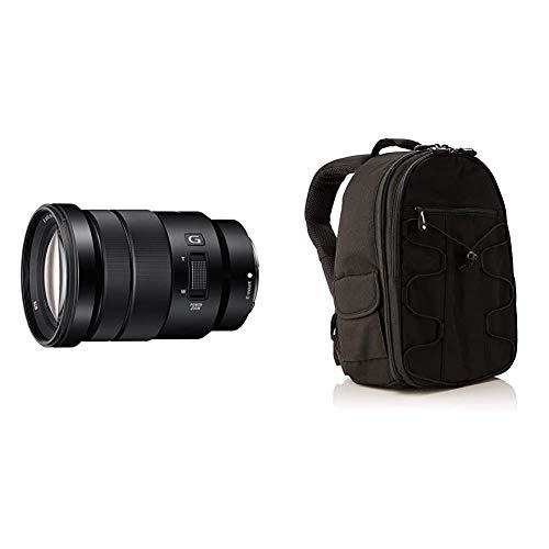 Sony SEL-P18105G G OSS - Objetivo para Sony/Minolta (Distancia Focal 18-105mm, Apertura f/4) Color Negro + AmazonBasics - Mochila para cámara réflex y Accesorios, Color Negro