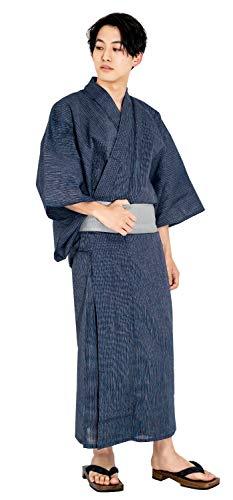 [キョウエツ] 浴衣セット しじら 綿麻 C 新サイズ 4点セット (浴衣、角帯、下駄、腰紐) メンズ (L, C-2.細...