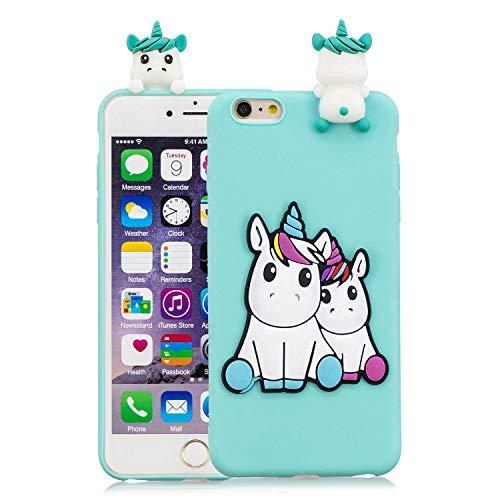 HopMore Divertidas Funda para iPhone 6S Plus/iPhone 6 Plus Silicona Dibujo 3D Panda Animal Carcasa TPU Gel Ultrafina Slim Case Antigolpes Caso Protección Cover Design Gracioso - Unicornio Verde