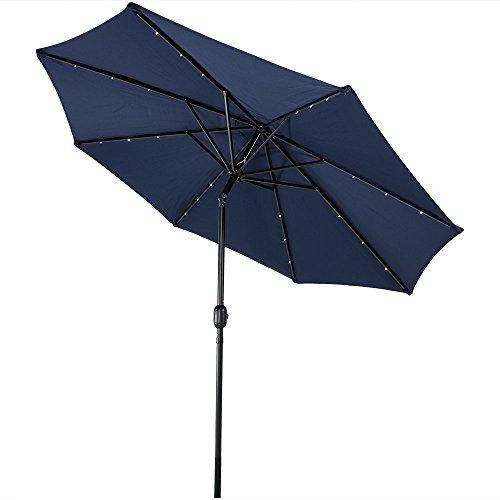 Sunnydaze Solar Outdoor Patio Umbrella with LED Lights, Tilt & Crank, Aluminum, 9 Foot, Navy Blue