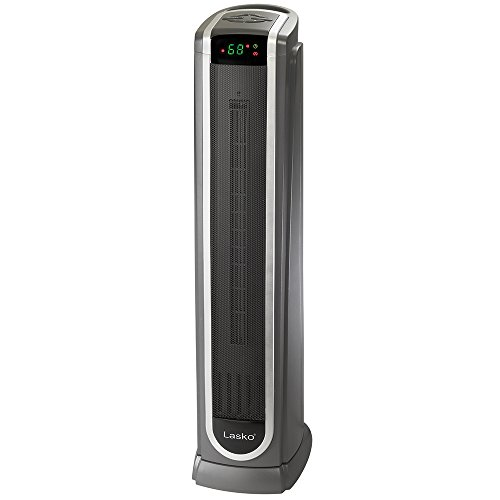 Lasko Ceramic Tower Space Heater with Logic Center Digital Remote Control-Features Built-in Timer and Oscillation, 7.3″L x 9.2″W x 29.75″H, Black 5572