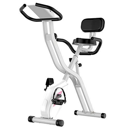 QLGRXWL Bicicleta estática, Home Trainer con sensores de Pulso Manual, con Respaldo, Plegable,B