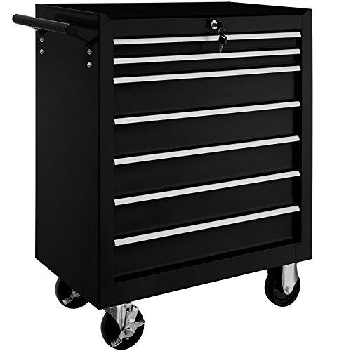 TecTake Chariot d'atelier servante à outils   7 tiroirs spacieux verrouillables   -diverses modèles- (Noir   No. 402800)