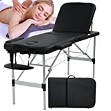 Massage Table Massage Bed Spa Bed Portable Foldable 73 Inch Height Adjustable 3 Fold Salon Bed with Aluminium Legs, Face Cradle, Carry Case Tattoo Table Facial Bed Hold Up to 450LBS, Black