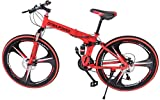NJ508 Folding Mountain Bike 26in 21 Speed Bicycle Full Suspension MTB Bikes (Red)