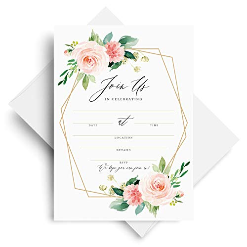 Bliss Collections Join Us Invitations with Envelopes, 25 Fill-in Geo Blush Floral Greenery Watercolor Invites for Your Wedding, Bridal Shower, Baby Shower, Engagement Party, Birthday, 5x7 Cards
