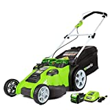 Greenworks 40V 20 inch Cordless Twin Force Lawn Mower, 5Ah Battery and Charger Included, 25302