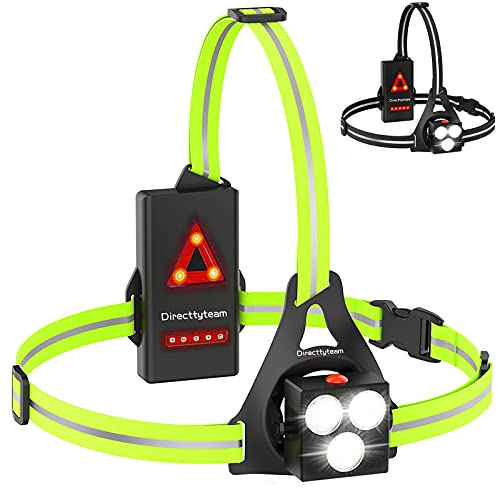 Running Light Lamp, Running LED Chest Light with 120°Adjustable Beam Angle, Directtyteam USB Rechargeable Waterproof Safety Warning Lamp with Reflective Straps for Running Jogging Camping Hiking