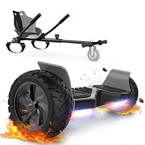 FUNDOT Hoverboards avec siège,Hoverboards Tout-Terrain avec hoverkart,Kart à Auto-équilibrage pour Scooter de 8,5 Pouces, Hoverboards avec Haut-Parleur Bluetooth, LED,Cadeau pour Enfants Adultes