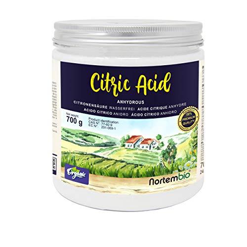 Nortembio Acido Citrico 700g. Polvere Anidro, 100% Puro. per Produzione Biologica. E-Book Incluso.