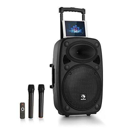 "auna Streetstar 15 2.0 Edition - mobile PA-Anlage, 15\"" (38,1 cm) Subwoofer mit 1000 W max. Leistung, Bluetooth, USB/SD/MP3, robustes ABS-Gehäuse, Formate: MP3, WMA, ID3-Tag, Akku, schwarz"